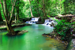 The small waterfall and rocks, Krabi, Thailand. Royalty Free Stock Images