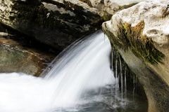 Small waterfall. Russia, Krasnodar Territory, Khostinsky district in the upper reaches of the Khosty River. Canyon White Royalty Free Stock Photography