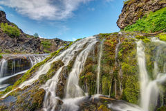Small waterfall seen in Iceland Royalty Free Stock Image