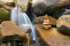 Small Waterfall with Stone Stack Royalty Free Stock Photography
