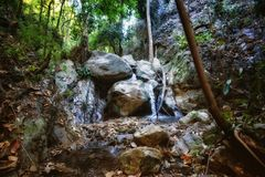 Small waterfall in stream Royalty Free Stock Photography