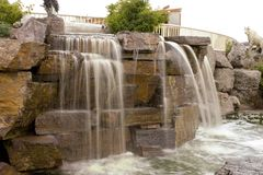 Small Waterfall in a Strip Mall. In Montana Stock Photos