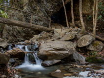 Small Waterfall in Styx Branch at Arch Rock. En route to Alum Cave Stock Photos