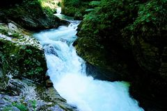 Small waterfall in the Vintgar Gorge Royalty Free Stock Photo
