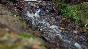 Small waterfall. Water flow from a small artificial waterfall inside park stock footage