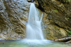 Small waterfall. Waterfall which made a little pool in forest stock photography