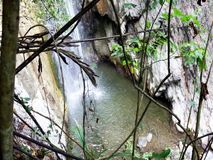 A small waterfall in the wild jungle .  Palawan Island. A small waterfall in the wild jungle . Philippines. Palawan Island stock footage