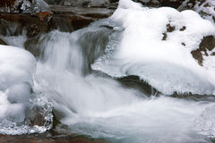 Small waterfall in winter Stock Photos