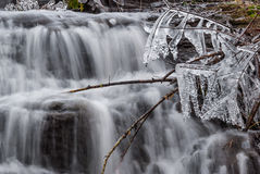 Small waterfall in winter Stock Images