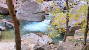 Small Waterfall at Zion National Park Utah Panning Shot stock footage