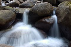 Small waterfalls. Two small waterfalls spraying water Royalty Free Stock Image