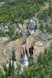 Small waterfalls and curious formations from Bow glacier falls Royalty Free Stock Image
