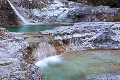 Small waterfalls of pure water at the Brenton Cadins, in the valley of Mis, Belluno. The province of Belluno In Veneto, Italy, a mountain city in the Dolomites Royalty Free Stock Photos