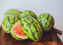 Small watermelon on a wooden board Stock Image