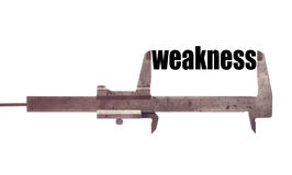 Small weakness. Color horizontal shot of a caliper and measuring the word weakness Royalty Free Stock Photography