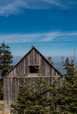 Small Weathered Cabin High on Mountain Top. In Smokies stock photo