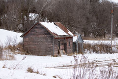 A Small Weathered Wood Farm Shed Royalty Free Stock Photography