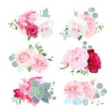 Small wedding bouquets of peony, hydrangea, camellia, rose, succulents vector illustration