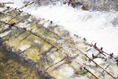 Small weir in river Royalty Free Stock Photo