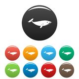 Small whale icons set color royalty free illustration