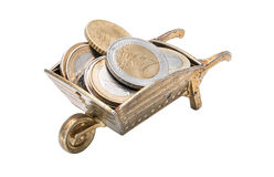 Small wheelbarrowr with coins Stock Photography