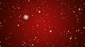 Small white abstract snowflakes slowly falling down on red gradient background - christmas, winter or new year template, loopable