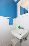Small white and blue bathroom. Small white and blue bathroom with antique sink and mirror Royalty Free Stock Photography