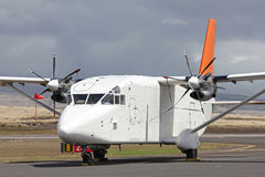 Small white cargo plane Stock Images