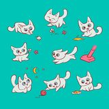 Small white cats different emotions and situations. Kitty play with ball walking in nature hunting for mouse and run. Away from broom. Vector humor set embossed Stock Image
