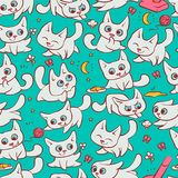 Small white cats seamless pattern different emotions. Kitty play with ball walking in nature hunting for mouse and run. Away from broom. Vector humor set Stock Image