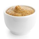 Small white ceramic dish of Czech mustard. Royalty Free Stock Image