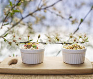 Small white ceramic dishes with rise and curry, beans sprouts on Stock Images