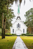 Small White Chapel Down Stone Path Royalty Free Stock Image