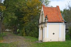 Small white chapel in the woods in Poland. Small white chapel in the woods in Poland Stock Images