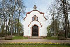 Small White Chapel. A small white chapel in the woods in Spring. Near Leipzig, Saxony, Germany Stock Photos