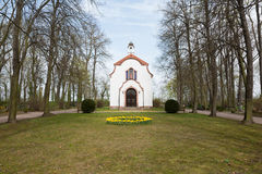 Small White Chapel. A small white chapel in the woods in Spring. Near Leipzig, Saxony, Germany Royalty Free Stock Photography
