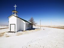 Small white church. Royalty Free Stock Photos