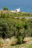 Small white church on the Aegean coast Royalty Free Stock Photo