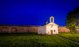 Small white church night photo Stock Images