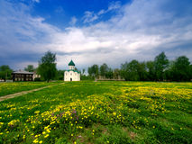 Small White Church On A Meadow Stock Image