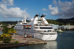 Small White Cruise Ship in St Lucia Bay Stock Photos
