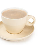 Small white cup of cappuccino coffee Stock Photos