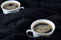 Small white cups of coffee Royalty Free Stock Photography