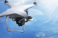 Small white drone flying Royalty Free Stock Photography