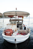 Small white fishing boat Royalty Free Stock Image