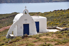 Small white greek orthodox church on mykonos island Royalty Free Stock Photo