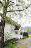 Small White House with Front Wood Porch Stock Images