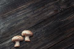 White mushrooms on black boards. Small white mushrooms on black boards Stock Photos