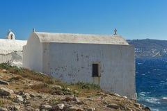 Small White orthodox church in Mykonos, Cyclades, Greece. Small White orthodox church in Mykonos, Cyclades Islands, Greece Royalty Free Stock Photos