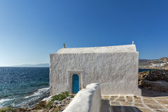 Small White orthodox church in Mykonos, Greece Royalty Free Stock Images